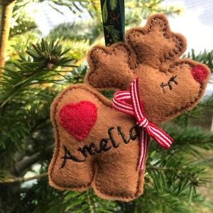 personalised felt reindeer christmas decoration tree hanger xmas tree decoration