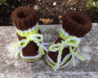 Babys knitted high top booties boots