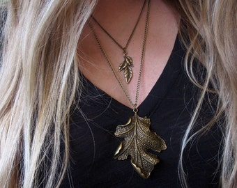 Nature jewelry, leaf necklace, layered necklace, nature lovers, bronze leaf charm, gift for nature lover, gift for her, gift for gardener