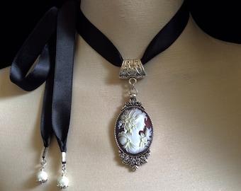 Cameo necklace, cameo choker, cameo jewelry, vintage cameo, silver choker, vintage jewelry, cameo pendant, victorian choker, bridal jewelry