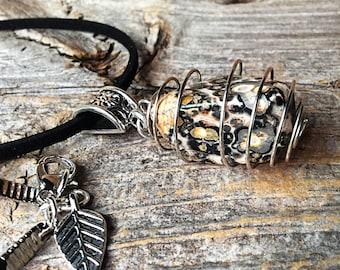Amazing Stones Leopard Skin Jasper /& Plated Silver Cluster Earrings
