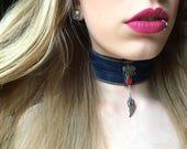 Angel wings, angel wing necklace, angel necklace, guardian angel, denim choker, upcycled jean, recycled jean, blue jean, red rose necklace