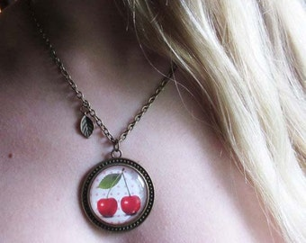Cherry necklace, fruit jewelry, retro necklace, retro jewelry, rockabilly necklace, rockabilly jewelry, red cherry necklace, women teen gift