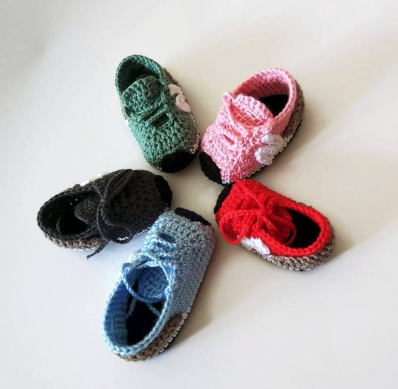 NEW BALANCE style crochet baby booties PATTERN. Crochet baby
