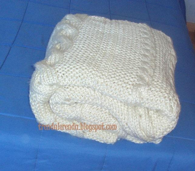 Patrón manta de trenzas tejida a dos agujas. Descarga | Etsy