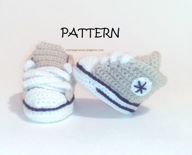 PATRÓN de crochet patucos Converse All Star de bebé. Descarga | Etsy