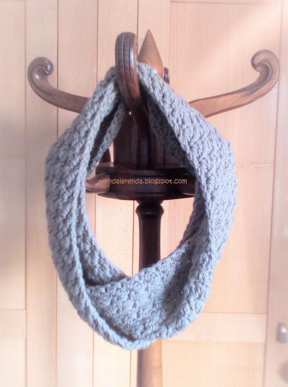 Patrón de crochet bufanda infinita reversible larga fácil