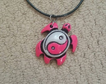 Hot pink turtle, pink turtle, pink necklace, hot pink beads, pink beads, black leather necklace, turtle necklace