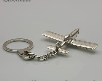 Keyring silver airplane Air Tractor