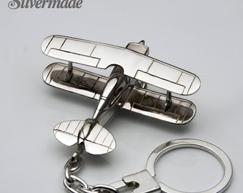 Silver KeyRing airplane Pitts