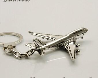 Keyring silver airplane Boeing 747
