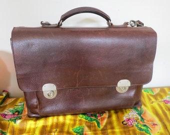 men/'s carry bag top handle briefcase expandable leather attache bag Vintage 70/'s Men/'s brown leather attache