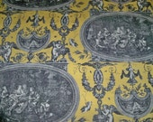 DESIGNER NEOCLASSICAL ROUSSEAU French Toile Fabric 3.5 Yards Yellow Black White