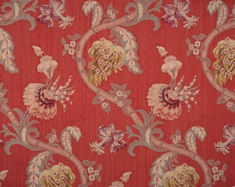 SCALAMANDRE ROCAILLE Floral Silk Fabric 10 Yards Multi on Red