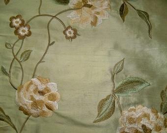 SILK LOOM GALEENA Embroidered Floral Silk Fabric 10 Yards Celadon Multi
