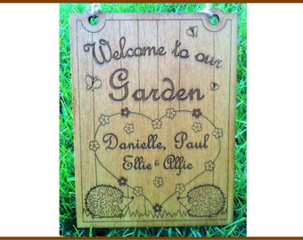 A personalised wooden Garden Sign