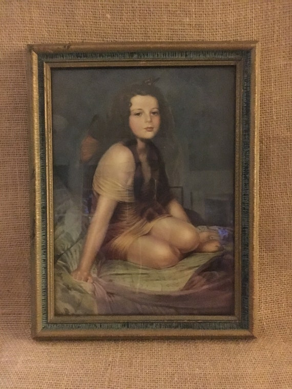 William Sergeant Kendall Lithograph Art Print PSYCHE 9 x 12 Young Girl Butterfly