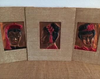 Vintage Wanda Irwin Tooled Copper Asian Portraits Wall Art Set of 3