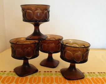 Mid Century Modern Noritake Spotlight Walnut Brown Sherbet Goblets Glasses
