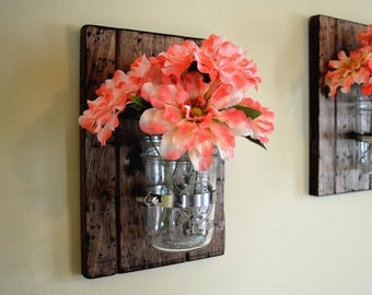 Mason Jar Decor, Rustic Wall Decor, Spring Decor, Wall Planter, Mothers Day, Mason Jar Sconce, Country Decor, Rustic Modern Decor, Farmhouse