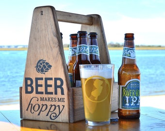 Six Pack Carrier, Gifts for Men, Gifts for Him, Beer Tote, Wooden Beer Caddy, 5 year Anniversary Gift, Bottle Opener, Beer Gifts, Beer Lover