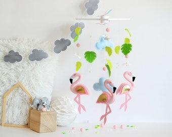 Baby mobile - Felt baby mobile - Flamingo mobile - Felt mobile - Baby girl - Bird mobile - Nursery decor - Nursery mobile - Newborn gift