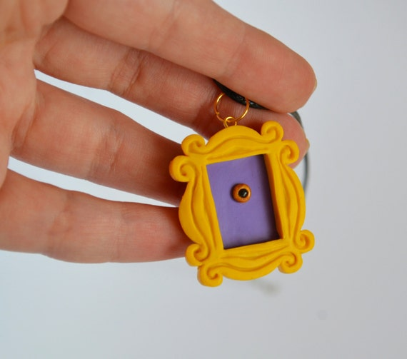 FRIENDS tv show inspired Yellow peephole frame pendant from