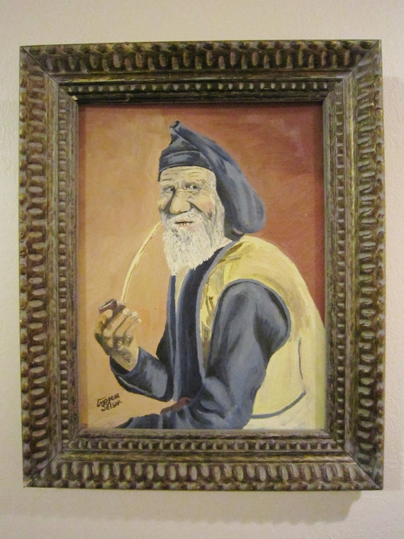 Exquisite Vintage Oil Painting Old Man Pipe Artist Signed Etsy