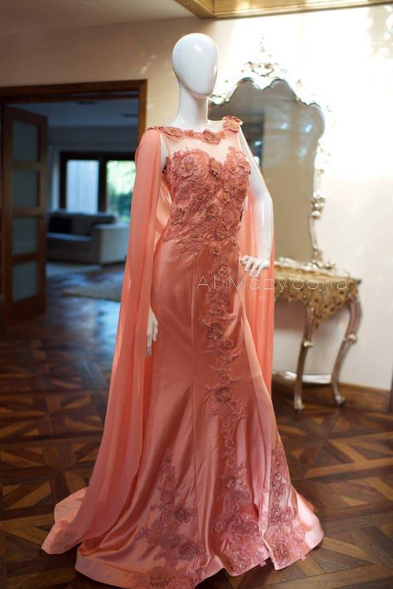 Al Mazyoona Haute Couture Luxury Evening Party Dress Gown Dubai Arabic Bisht Kaftan Farasha Abaya