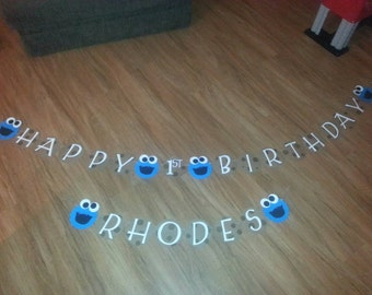 Cookie Monster Birthday Banner personalized with Name