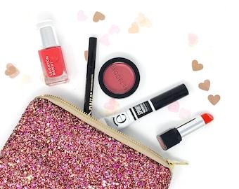 f5ff498c3a Mulberry Plum Pink Sparkly Glitter Pouch Clutch Bag Evening Clutch Wedding  Clutch Bag