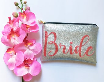 Personalised Bridal Purse for Bride to be Wedding day Clutch Sparkly Glitter Bridal Clutch Bag Gift for Bride to be Bridal Accessory
