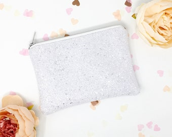 White and Silver glitter Wedding day clutch bag for Bride