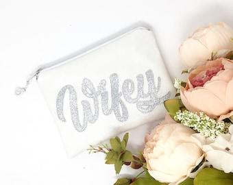 Wifey Clutch Wedding bag Wifey purse Sparkly Wifey Clutch Bag Gift for Bride Wifey for Lifey Wifey to be Gift for Wife Bride to be Gift