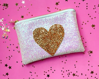 Heart Wedding Clutch for Bride Heart Wedding Bridal bag Wedding Day Sparkly Glitter Purse Bridesmaid Gift Maid of Honour Gift