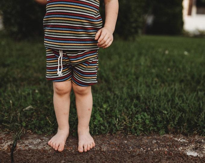 Retro Stripe Midi Shorts