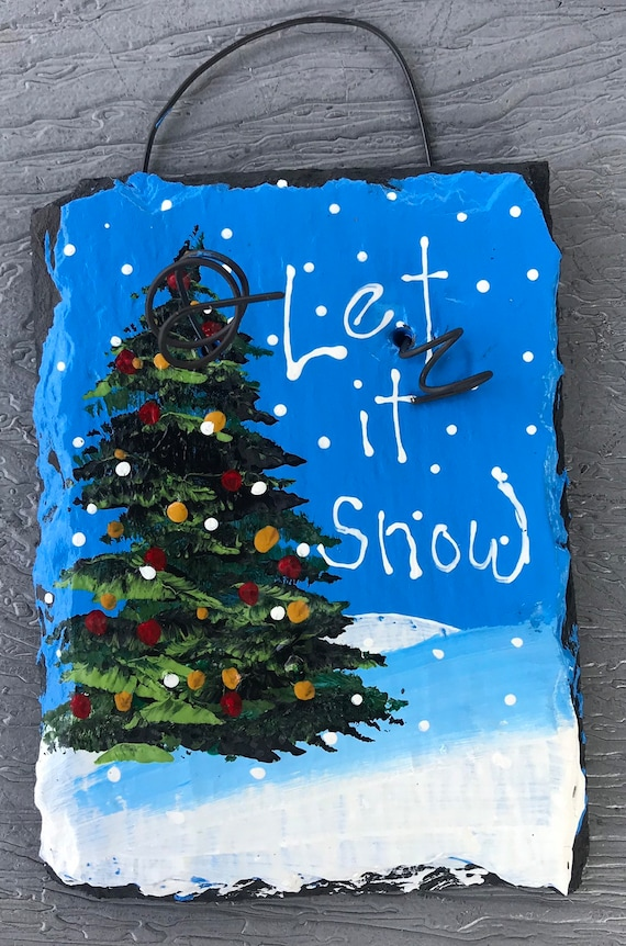 Christmas In Pittsburgh 2019.2019 Hand Painted Slate Christmas Tree On Slope Ornament O Holy Night Customize Let It Snow