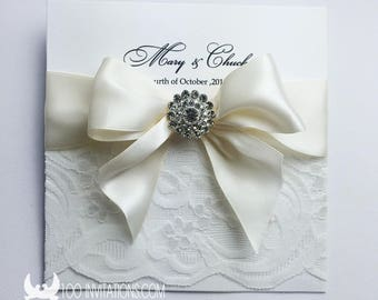 Lace wedding invitations etsy wedding invitationscustomized personalized lace wedding invitationelegant lace wedding invitations with luxury rhinestone button filmwisefo