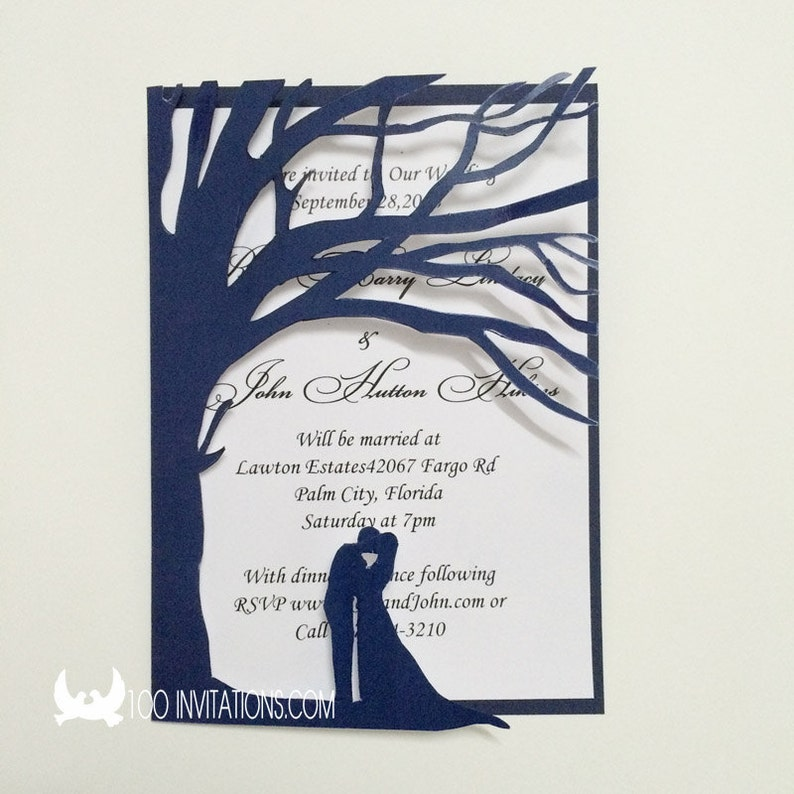 Navy Blue Laser Cut Wedding Invitationnavy Tree Wedding Etsy