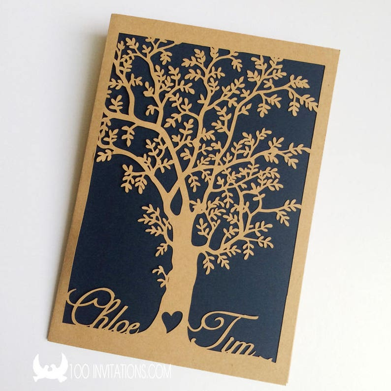 Amazoncom Rustic Tree Wedding Invitation Laser Cut Tree