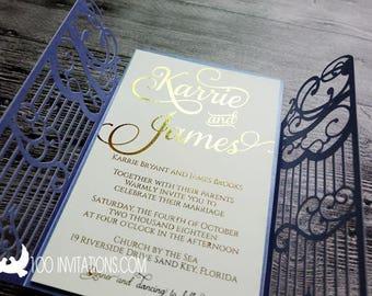 Laser  Cut Royal Blue Wedding Invitations,Gate Fold Laser Cut Wedding Invitation,Foil Wedding Invitation