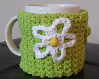 Crocheted - Bright Green Mug Cozy (adjustable)