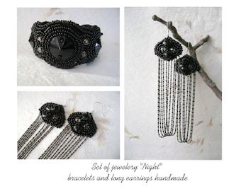 "Set of jewelery ""Night"" embroidery black bracelets and long earrings handmade. Black jewelery."