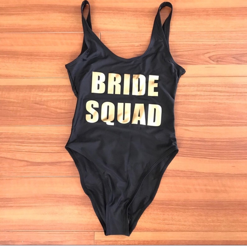 2802f9916d Bride Squad One Piece Swimsuit Black w/ Gold | Etsy