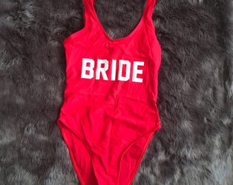 Bride One Piece Swimsuit (Red w/ White)