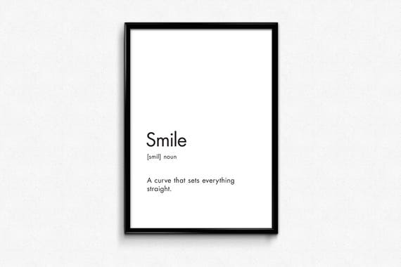 Dictionary Print Smile Word Artwork Dictionary Art Modern Etsy