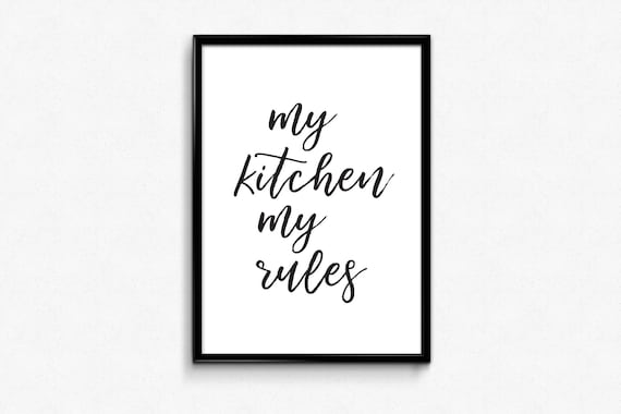 A4 Quote kitchen print Lets eat A5 food Home decor,