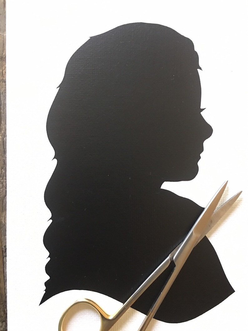 Custom Hand Cut Silhouette art on Canvas Panel without Wood Frame