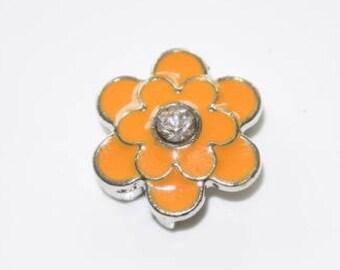 Orange flower bead for leather bracelet