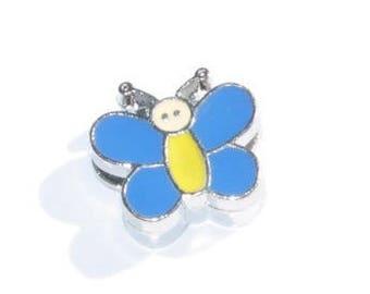Pearl Butterfly blue/yellow leather bracelet